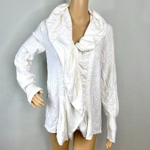 Free People White Cascade Cowl Collar Cardigan M